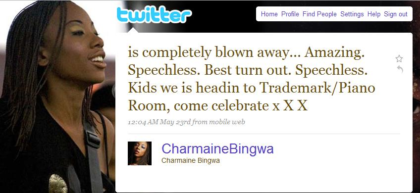 Charmaine Bingwa on twitter