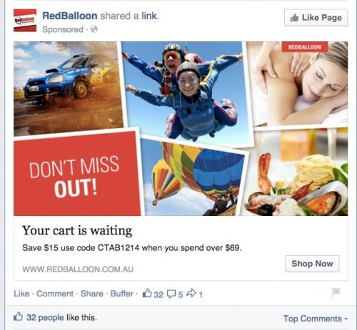 red balloon retargetting ad