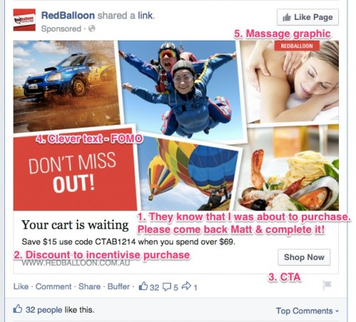 Red Balloon Annotated Facebook  Ad