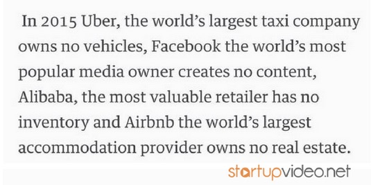 In 2015 Alibaba, Facebook, Uber, Airbnb