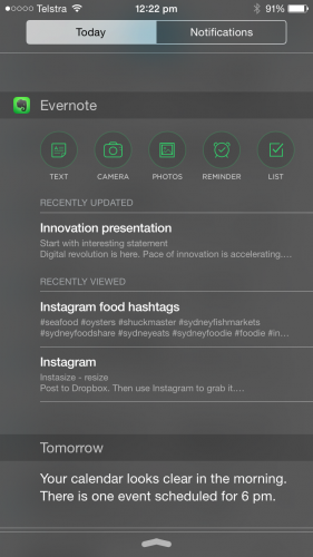 evernote notification widget