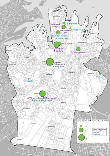 Map of Sydney startup ecosystem density