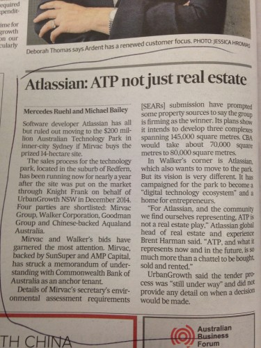 ATP not just real estate. Vital significance for Sydney Startup Ecosystem