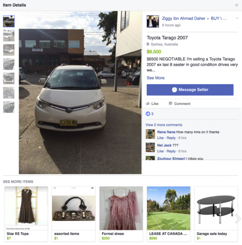 Facebook marketplace - listing page web