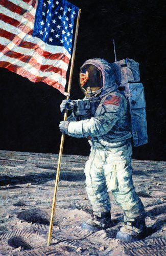 Man on moon planting flag