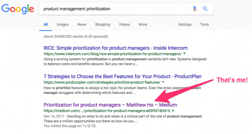 Product Management Prioritization Google Search Result